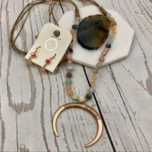 Jewelry - Boho tribal horn beaded long pendant necklace set